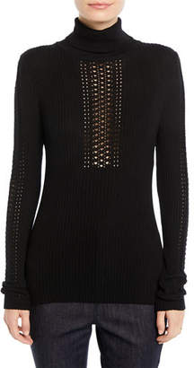 Elie Tahari Maelee Turtleneck Ribbed Sweater w/ Studs
