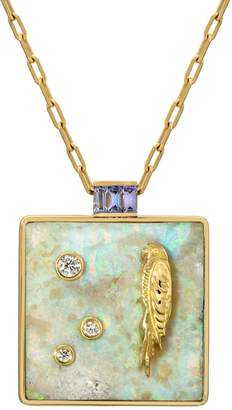 Retrouvaí Large Australian Opal and Tanzanite Truth Necklace - Yellow Gold