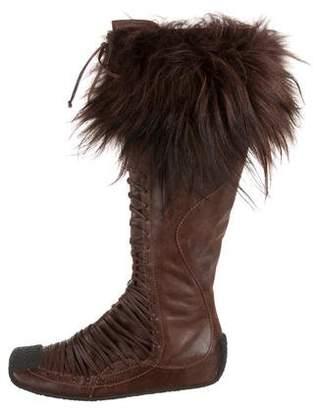 Christian Dior Fur-Trimmed Leather Boots