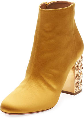 Aquazzura Party Silk Embellished 85mm Bootie
