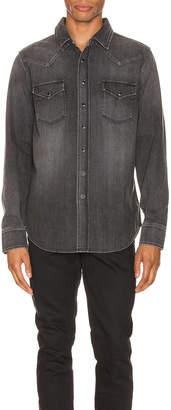 Saint Laurent Classic Western Denim Shirt in Dirty Medium Vintage Black | FWRD
