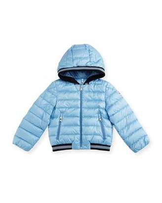Moncler Goustan Hooded Striped-Trim Puffer Jacket, Light Blue, Size 3M-3