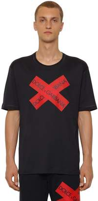 Dolce & Gabbana Cotton Jersey T-Shirt W/ Logo Tape