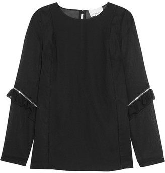 3.1 Phillip Lim - Zip-detailed Ruffled Georgette And Cotton-crepe Top - Black $495 thestylecure.com