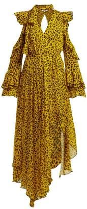 Diane von Furstenberg Heyford Leopard Print Silk Chiffon Wrap Dress - Womens - Yellow Print
