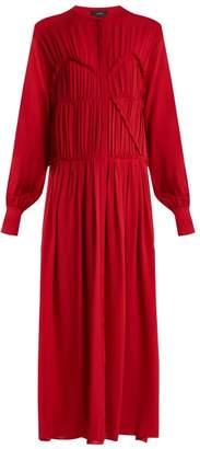 Joseph Jamie Ruched Silk Crepe Dress - Womens - Red