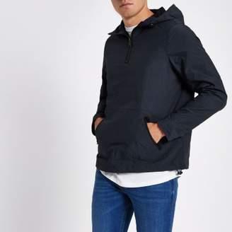 River Island Mens Navy half zip front hooded jacket