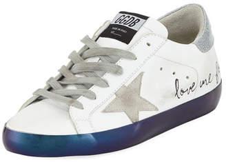 "Golden Goose Superstar ""Love Me For"" Leather Low-Top Platform Sneaker with Suede Star"