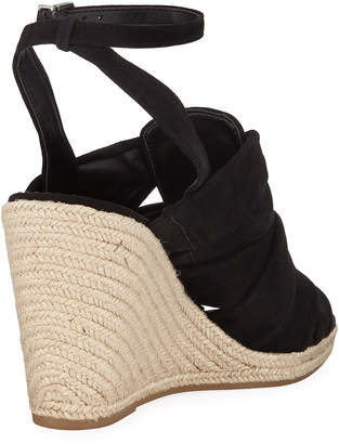 Sam Edelman Awan Gathered-Suede Espadrille Wedge Sandals