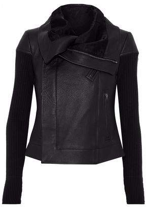 Rick Owens Ribbed Knit-Paneled Textured-Leather Biker Jacket