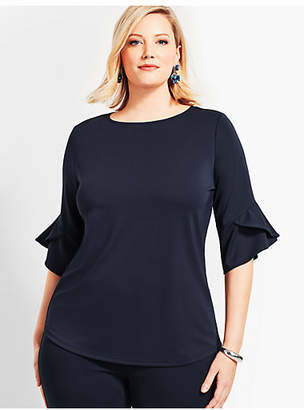 Talbots Plus Size Exclusive Substantial Jersey Flutter-Sleeve Top