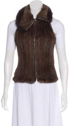 Neiman Marcus Zip-Up Fur Vest