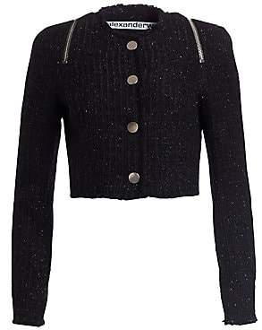 Alexander Wang Women's Tweed Zipper Trim Fitted Jacket