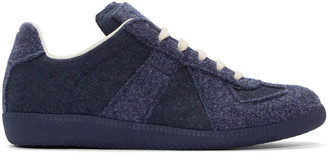 Maison Margiela Navy Felted Replica Sneakers $565 thestylecure.com