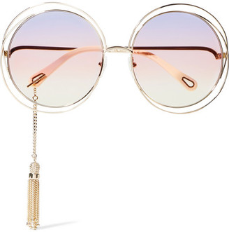 Chloé - Exclusive Carlina Round-frame Gold-tone Sunglasses - one size