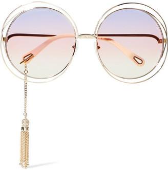 Chloé - Carlina Round-frame Gold-tone Sunglasses