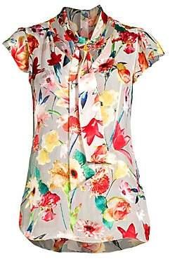 Elie Tahari Women's Bryce Floral Silk-Blend Tie Blouse