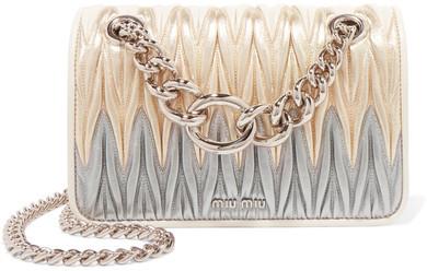 Miu MiuMiu Miu - Club Matelassé Leather Shoulder Bag - Gold