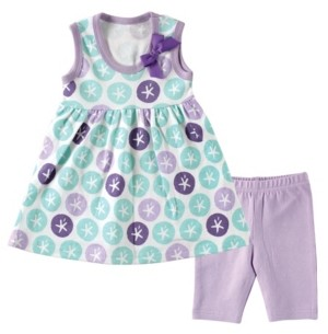 Baby Vision Hudson Baby Dress and Leggings, Purple Sand Dollar