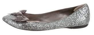 Miu Miu Glitter Bow Flats