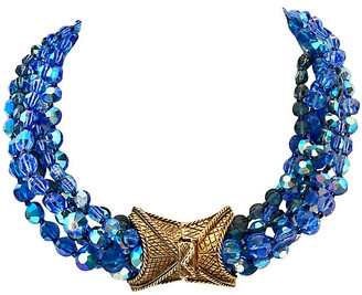 One Kings Lane Vintage 1960s Glass Bead & Gold Choker Necklace - Jacki Mallick Designs