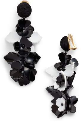 Oscar de la Renta Climbing Flower Drop Earrings