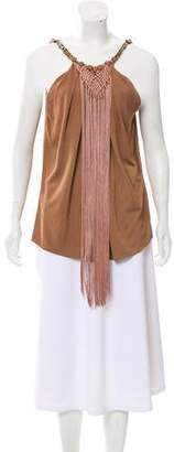 Alberta Ferretti Fringe-Trimmed Sleeveless Top