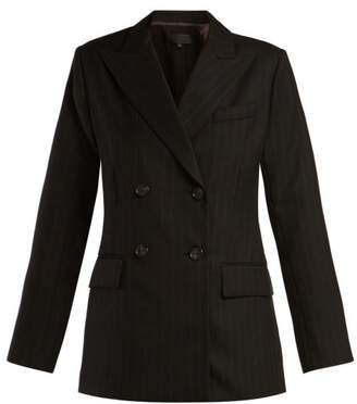 Nili Lotan Leander Double Breasted Pinstriped Wool Jacket - Womens - Navy