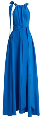 Kalita Camille Gathered Silk Maxi Dress - Womens - Blue