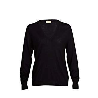 Asneh - Mathilda Black Cashmere V Neck Sweater in Fine Knit