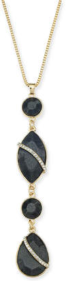 "Thalia Sodi Gold-Tone Black Crystal Teardrop Pendant Necklace, 32"" + 3"" extender"