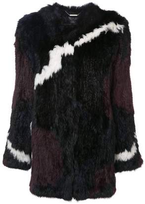 Rachel Zoe jagged stripe colour block fur jacket