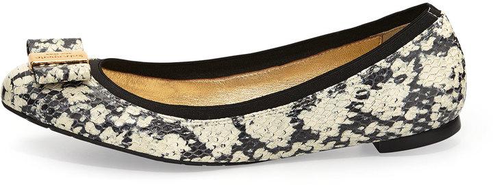 Kate Spade Tock Snake-Print Ballerina Flat, Black/Cream