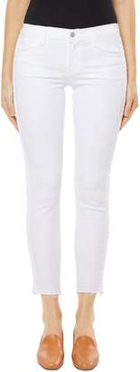 J Brand 9326 Low-Rise Cropped Skinny Jean In Braided Blanc