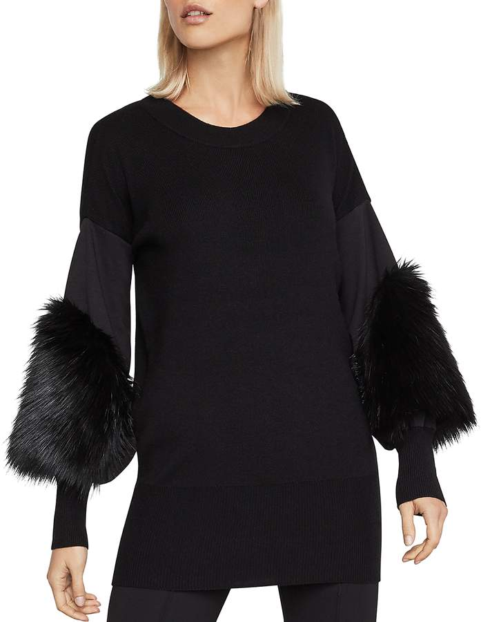 Faux-Fur-Cuff Tunic Sweater