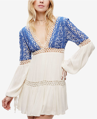 Free People Deep V-Neck Peasant Dress $148 thestylecure.com
