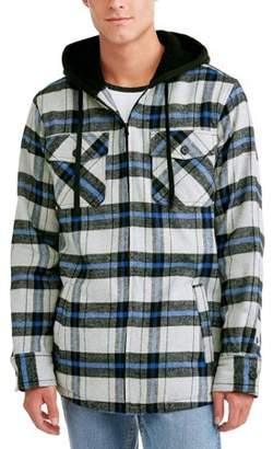 Burnside Men's Sherpa Lined Flannel Jacket with Fleece Hood, Up to Size 2XL