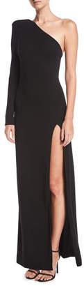 Redemption One-Shoulder High-Slit Jersey Evening Gown