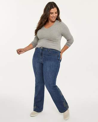 Slightly Curvy Fit Bootcut Jean with Embroidery - d/C JEANS
