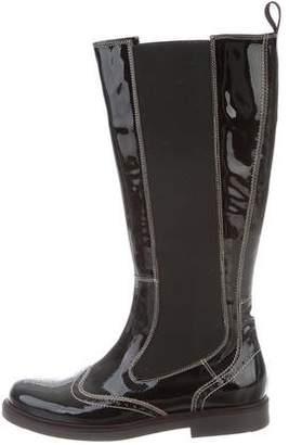 Santoni Patent Leather Round-Toe Boots