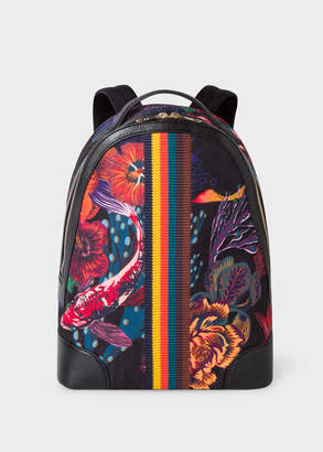 Paul Smith Men's Black 'Ocean' Print Canvas Backpack With 'Bright Stripe' Webbing