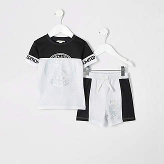 River Island Mini boys white foil print mesh shorts outfit