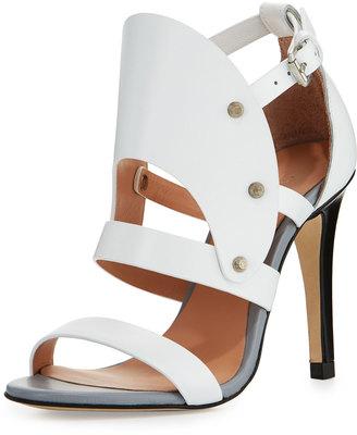 L.A.M.B. Gareth Cutout Studded Leather Sandal, White $225 thestylecure.com