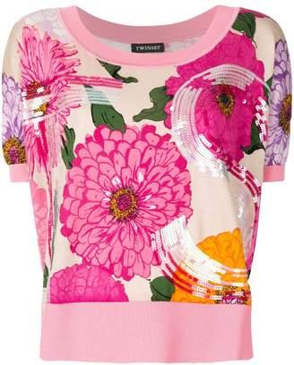 Twin-Set floral sequin details sweater