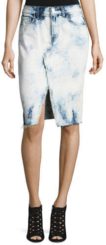 J BrandJ Brand Trystan Bleached Denim Midi Skirt with Raw Hem, Elation
