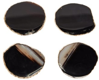 AERIN Set Of Four Gold Plated Agate Coasters - Brown Multi