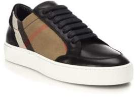 Burberry Salmond House Check& Leather Sneakers