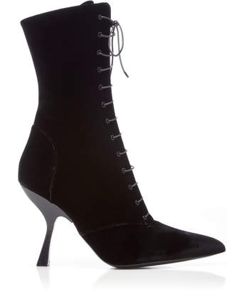 Brock Collection Velvet Lace-Up Boots Size: 36