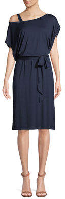 Three Dots Dolman-Sleeve Tie-Waist Jersey Dress
