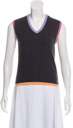 Chanel Cashmere Sleeveless V-Neck Top